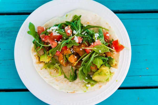 Mellizoz Tacos and Catering popular fried avocado taco.
