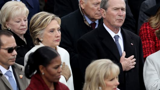 Former Democratic presidential nominee Hillary Clinton and former President George W. Bush attend Donald Trump Inauguration on the West Front of the U.S. Capitol on January 20, 2017 in Washington, DC.