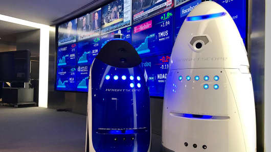 Knightscope's autonomous security bots K3 and K5. The company recently made headlines when one of its security bots was found drowned in a shopping mall pond.