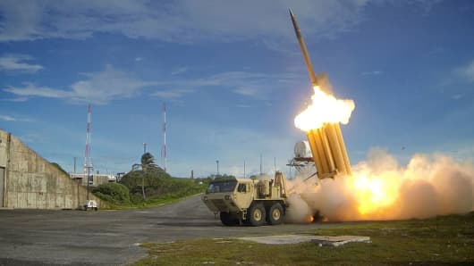 A Terminal High Altitude Area Defense (THAAD) interceptor is launched during a successful intercept test, in this undated handout photo provided by the U.S. Department of Defense, Missile Defense Agency.