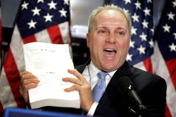 House Majority Whip Steve Scalise (R-LA) speaks about the American Health Care Act, the Republican replacement to Obamacare, at the Republican National Committee in Washington, March 8, 2017.