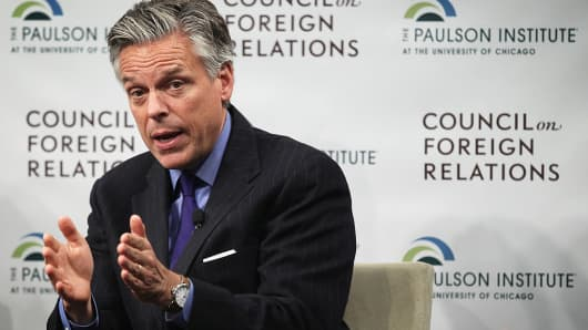 Former Utah Governor and former U.S. Ambassador to China Jon Huntsman participates in a discussion at the Council on Foreign Relations January 29, 2015 in Washington, DC.