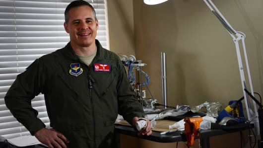 "Cutline: Col. Thatcher Cardon, 47th Medical Group commander at Laughlin Air Force Base, won a NASA ""Space Poop Challenge,"" beating out 5,000 others who submitted a way to manage human waste in a space suit."