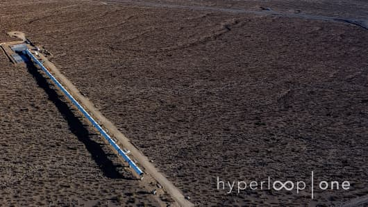 The Hyperloop One test track in the North Las Vegas desert.
