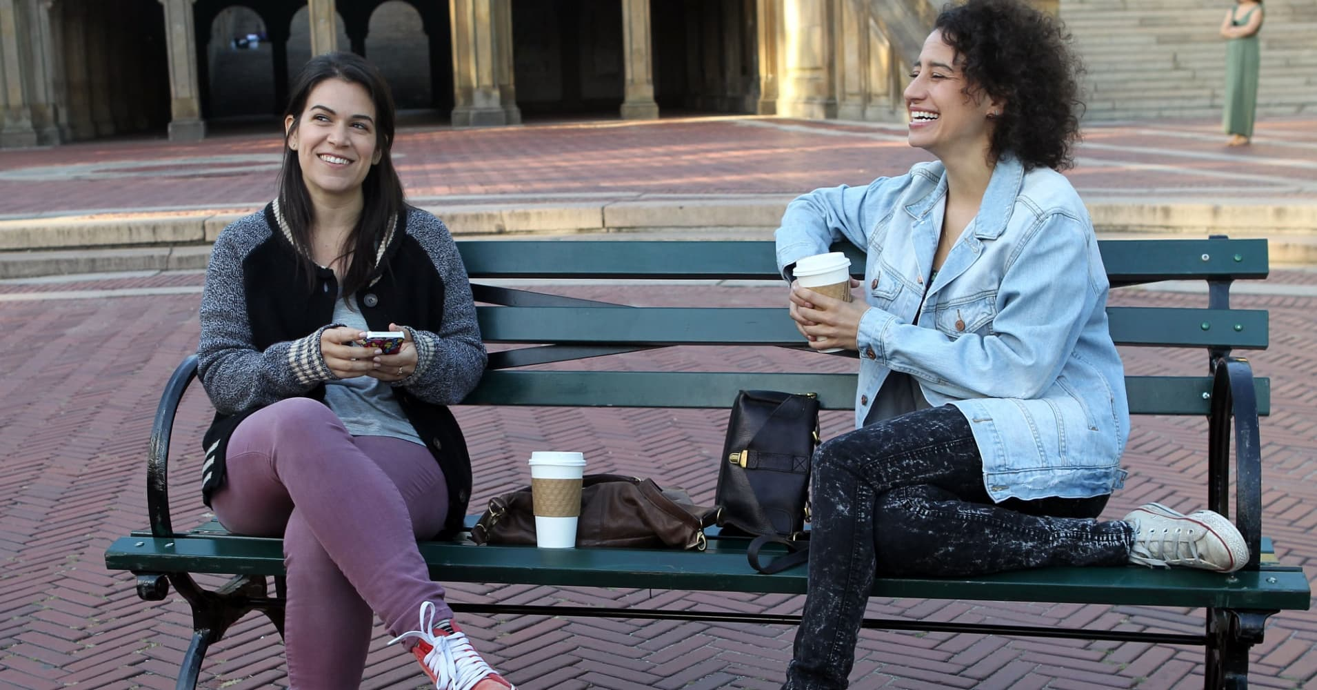 Ilana Glazer, Abbi Jacobson film Comedy Central's 'Broad City' in New York City.