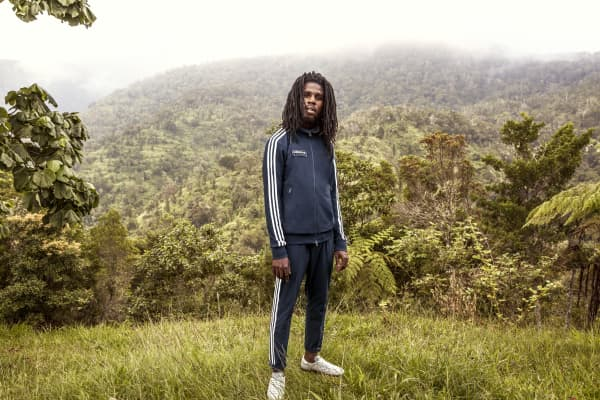 Reggae artist Chronixx in a promotional image for his collaboration with Adidas Originals Spezial