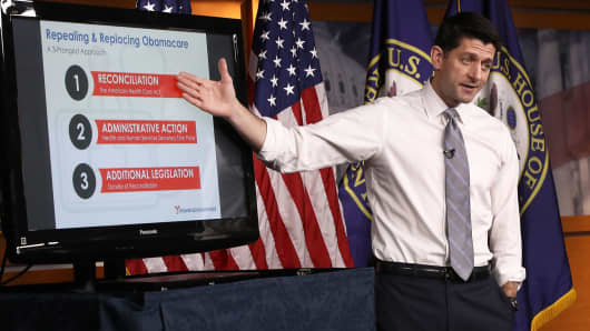 Speaker of the House Paul Ryan (R-WI) explains the Republican plan to replace the Affordable Care Act during his weekly press conference March 9, 2017 in Washington, DC.