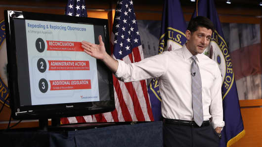 Speaker of the House Paul Ryan (R-WI) explains the Republican plan to replace the Affordable Care Act during his weekly press conference at the U.S. Capitol March 9, 2017 in Washington, DC.