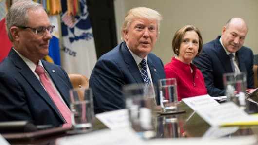President Donald Trump holds a National Economic Council listening session with the CEOs of small and community banks, in the Roosevelt Room at the White House on March 9, 2017 in Washington, D.C.