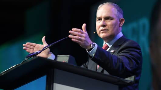 Scott Pruitt, administrator of the Environmental Protection Agency (EPA), speaks during the 2017 CERAWeek by IHS Markit conference in Houston, Texas, on Thursday, March 9, 2017.