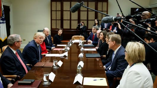President Donald Trump speaks in the Roosevelt Room of the White House in Washington, Thursday, March 9, 2017, during a meeting with leaders from small community banks.