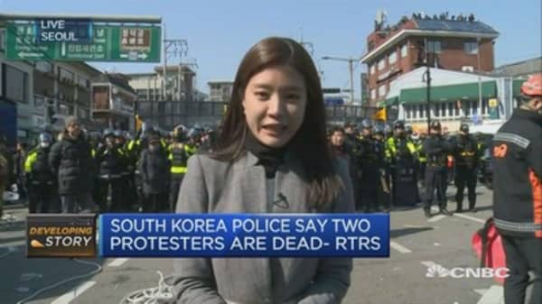 Violent outbursts break out amidst South Korean protests