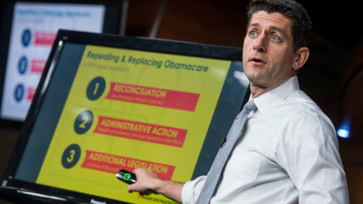 Speaker of the House Paul Ryan, R-Wis., conducts a presentation of the American Health Care Act, the GOP's plan to repeal and replace the Affordable Care Act, March 9, 2017.