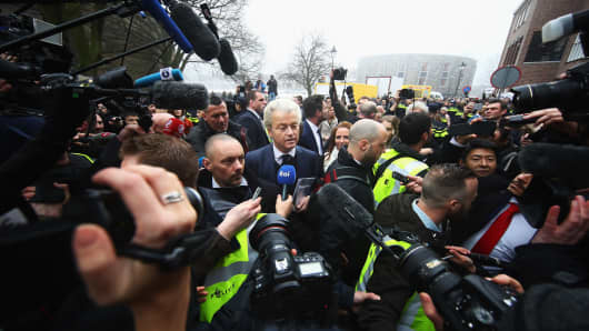 Party for Freedom candidate Geert Wilders kicking off his election campaign on February 18, 2017 in Spijkenisse, the Netherlands.
