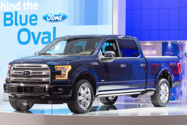 Ford F150 pickup on display during the 2015 Detroit International Auto Show at the COBO Center in downtown Detroit.