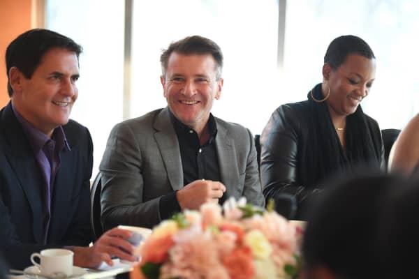 """Mark Cuban and Robert Herjavec attend a """"Shark Tank"""" breakfast on September 23, 2016."""