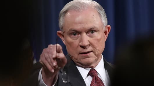 Attorney General Jeff Sessions takes questions during a press conference at the Department of Justice on March 2, 2017 in Washington, DC.