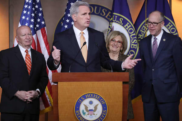 House Majority Leader Kevin McCarthy, (R-CA) (C), speaks about the American Health Care Act bill that is being debated on Capitol Hill, on March 10, 2017 in Washington, DC.