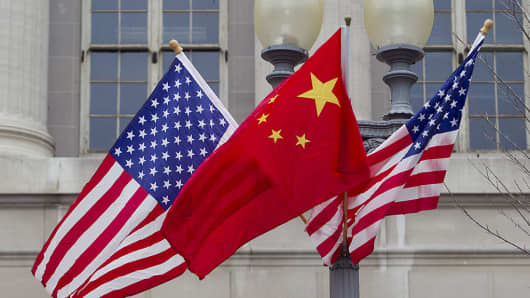Flags of the U.S. and China fly along Pennsylvania Avenue in Washington, D.C., on Jan. 17, 2011.