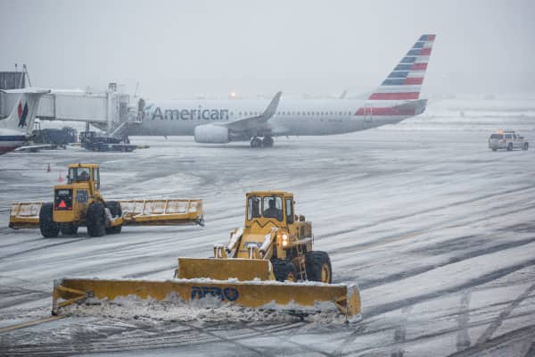 The tarmac of La Guardia Airport is cleared during a winter storm in the Queens borough of New York City. (File photo).