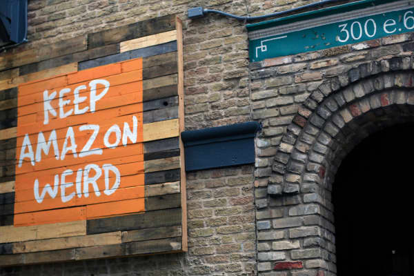 The sign outside Amazon's event space at the SXSW Festival in Austin, Texas on March 12, 2016.