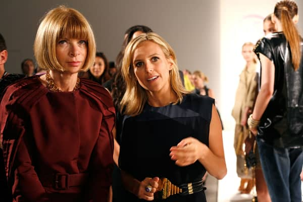 Editor-in-Chief of American Vogue Anna Wintour and designer Tory Burch attend the Tory Burch Spring 2010 presentation the Salon at Bryant Park on September 16, 2009 in New York, New York.