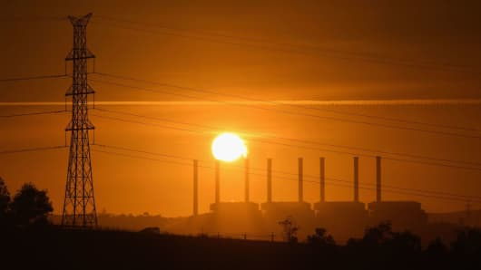 The sunrises over the Hazelwood Power Station is seen on February 27, 2017 in Hazelwood, Australia. The French owners of the station, Engie, announced plans to shut the brown coal fueled power station, which is located in Victoria, a state neighboring South Australia.