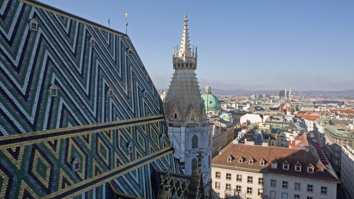 The view overlooking Vienna from the bell tower of Stephansdom in Stephansplatz in Vienna, Austria.