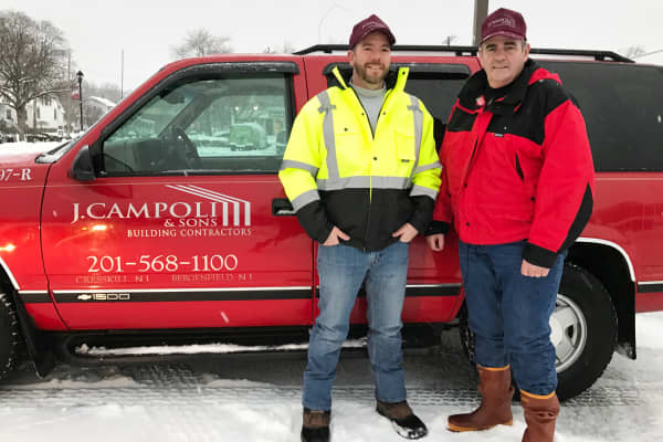 Brad and John Campoli, co-owners of J. Campoli & Sons Building Contractors in Cresskill, N.J., gear up for Stella.