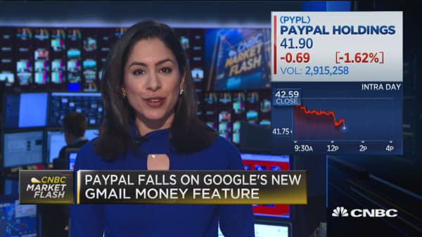 PayPal falls on Google's new Gmail money feature
