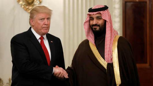President Donald Trump and Saudi Deputy Crown Prince and Minister of Defense Mohammed bin Salman meet at the White House in Washington, U.S., March 14, 2017.