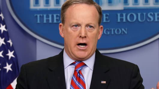 White House spokesman Sean Spicer holds a briefing at the White House in Washington, March 14, 2017.