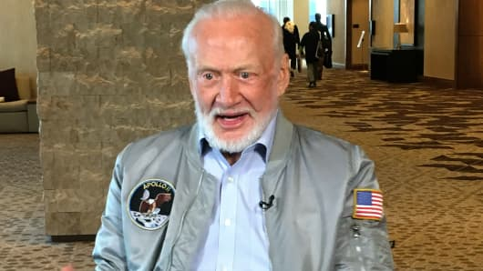 Former astronaut Buzz Aldrin in an interview during SXSW festival in Austin, Texas on March 14, 2017.
