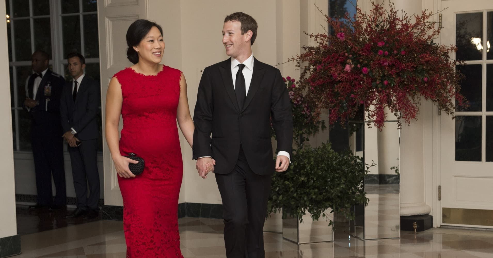 Priscilla Chan and Mark Zuckerberg at the White House on September 25, 2015.