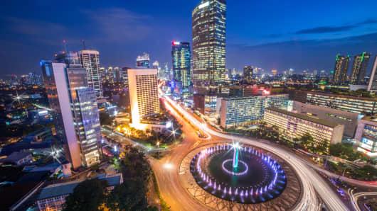 View of Jakarta city at night.