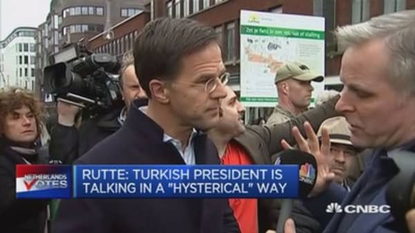 Dutch PM: Turkish president is talking in a 'hysterical' way
