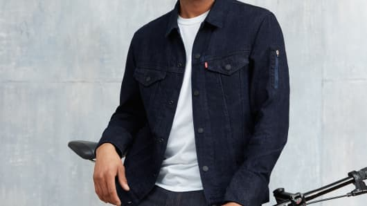 Man models Levi's Google jacket
