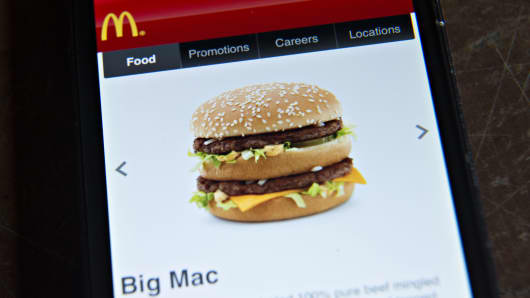 A McDonald's Big Mac is displayed on a page of the McDonald's app.