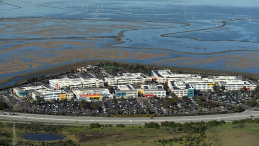 Facebook's campus is seen in this aerial photo on the edge of the San Francisco Bay in Menlo Park, California, U.S. on January 13, 2017. Picture taken on January 13, 2017.