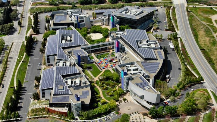 Alphabet Headquarters in Mountain View CA with extensive solar panels.