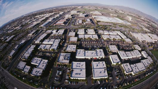 Former farm fields replaced by high tech industry growth in the San Jose area, California.