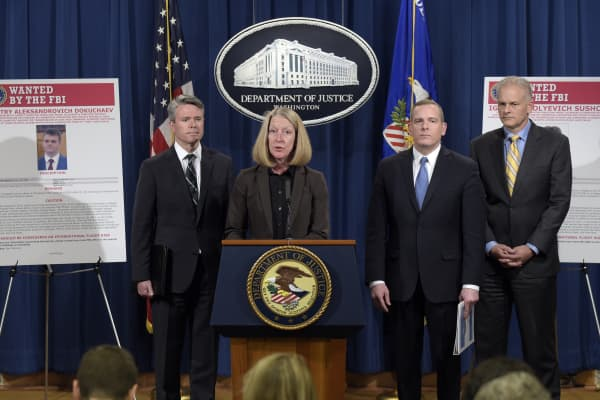 Acting Assistant Attorney General Mary McCord at the Department of Justice announced charges against four defendants, including two officers of Russian security services, for a mega data breach at Yahoo.