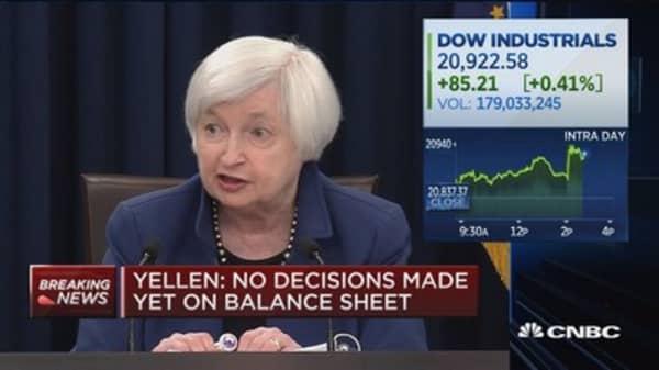 Yellen: No decisions made yet on balance sheet