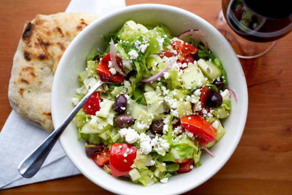 A Greek salad from his Next Door restaurant.