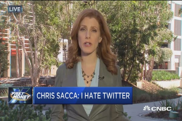 Early Twitter investor Chris Sacca says he 'hates' the stock