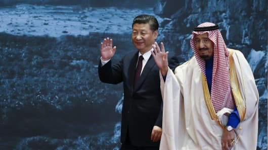 Chinese President Xi Jinping with Saudi Arabia's King Salman bin Abdulaziz Al Saud on March 16, 2017 in Beijing, China.