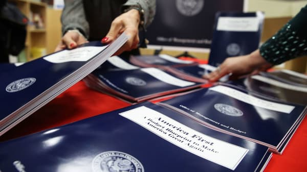 Copies of President Donald Trump's overview of budget priorities for FY2018, titled 'America First: A Budget Blueprint to Make America Great Again.' on display at the Government Publishing Office (GPO) and the Office of Management and Budget, on March 16, 2017 in Washington, DC.