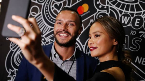 American actress Jamie Chung in Mastercard's selfie studio at the Money 20/20 conference in Las Vegas in October 2016