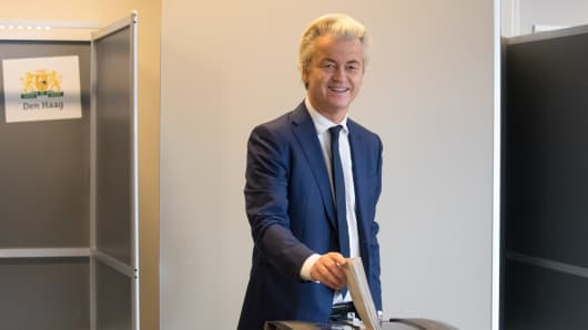Geert Wilders, leader of the Netherlands' Party for Freedom, casts his vote in the Dutch general election in The Hague, Netherlands, on March 15, 2017.