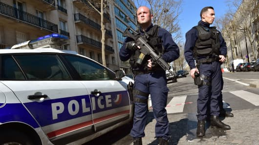 French Police officers secure the scene near the Paris offices of the International Monetary Fund (IMF) on March 16, 2017 in Paris, after a letter bomb exploded in the premises.